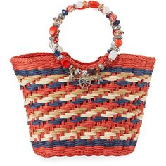Cappelli Straworld Beaded Ring Striped Straw Tote Bag ($56) ❤ liked on Polyvore featuring bags, handbags, tote bags, red, striped totes, zippered tote bag, zip tote bag, nautical tote and tote handbags