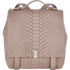 Proenza Schouler Python PS Small Courier Backpack ($2,950) ❤ liked on Polyvore featuring bags, backpacks, backpack, purses, flat bags, rucksack bag, backpacks bags, proenza schouler and brown backpack