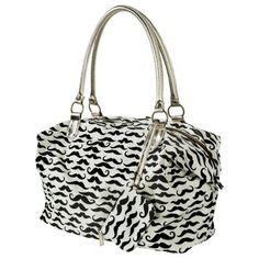 Mustache Print Tote Handbag