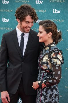Lovely photo of Tom Hughes (Albert) and Jenna Coleman (Victoria). Kensington Palace, August 11, 2016.