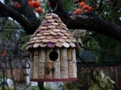 bird house made with wine bottle corks