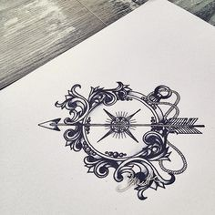 #compass #bunette #filigree #tattoodesign #tattoo #arrowtattoo #arrow - thebunettedesigns
