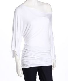White Banded Asymmetrical Top