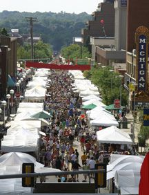 Never a bad time! I love this fest! Ann Arbor Art Fair - looking west from the State Theater up Liberty.