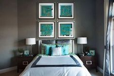Turquoise Wall Decor, Turquoise Walls, Bedroom Turquoise, Bleu Turquoise, Turquoise Accents, Charcoal Bedroom, Gray Bedroom Walls, Bedroom Decor, Bedroom Ideas