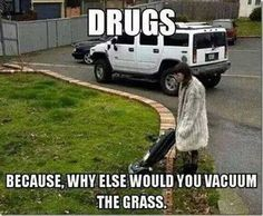 No lie, I once saw a man pressure washing his grass. No sidewalk, just grass. First thought to come to mind: DRUGS!