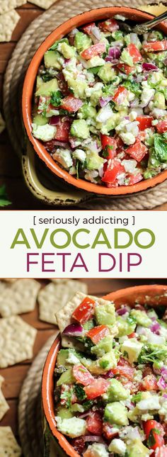 Easy Avocado Feta Dip. Simple, clean-eating and so delicious. This is a MUST have for any party.