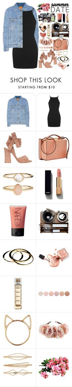 """""""2600. Smokin' Hot: Summer Date Night"""" by chocolatepumma ❤ liked on Polyvore featuring Closed, Topshop, Gianvito Rossi, Mark Cross, Accessorize, Chanel, NARS Cosmetics, Malle W. Trousseau, Janna Conner and HUGO"""