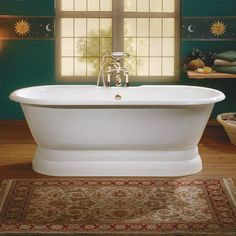 Cheviot REGAL Cast Iron Bathtub with Pedestal Base and Flat Area for Faucet Holes