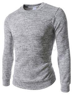(WIST14-GRAY) Slim Fit Round Neck Knit Long Sleeve Tshirts