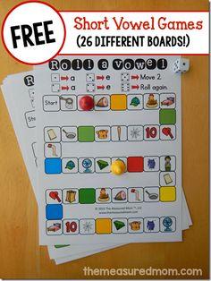 FREE Short Vowel Games - 26 different board to help kindergarten, 1st grade, and 2nd grade kids practice identifying short vowels (language arts)