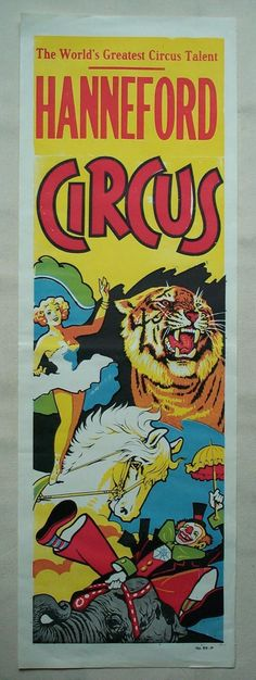"""1960s Hanneford Circus Poster FULL COLOR Showgirls, Tigers, Clowns 14 x 42"""" ORIG 