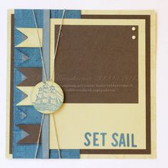 Premade Scrapbook Page 8 x 8 Nautical Hand Made by Rubberredneck, $7.95