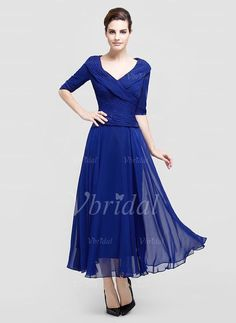 A-Line/Princess V-neck Ankle-Length Ruffle Chiffon Zipper Up Sleeves 1/2 Sleeves 2015 Royal Blue Spring Fall Winter General Mother of the Bride Dress