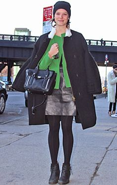 Do it big for date night with a leather Skirt, chic tights, a pop of color and a cute peacoat!
