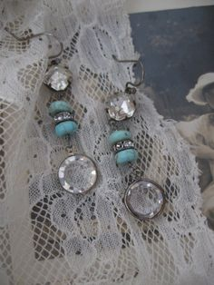 Summer Morn... vintage crystal and turquoise assemblage earrings. $24.00, via Etsy.