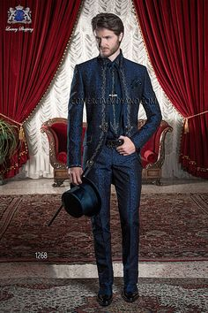 Italian bespoke blue brocade frock coat with silver embroidery on collar, back and pockets, style 1268 Ottavio Nuccio Gala, 2015 Baroque collection.