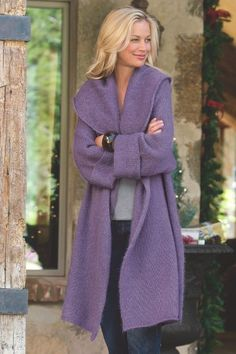 Telluride Topper You'll love snuggling into the exaggerated shawl collar of this fully fashioned, lightweight but warm acrylic/wool/mohair topper with wrist length raglan slee