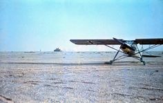 """The Fieseler Fi 156 """"Storch"""" light transport aircraft used by General Erwin Rommel in the North Africa. Rommel was known to hop in his Storch and fly over the battlefront to get a clearer picture on operations. Photo taken by Rommel himself during his Campaign in North Africa, 1941"""