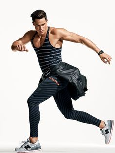 Tank top, $120, Lacoste + tights $130 / Sneakers, $75, by New Balance jacket (at waist) $90 / Nike watch, $399, by Apple Watch Nike+