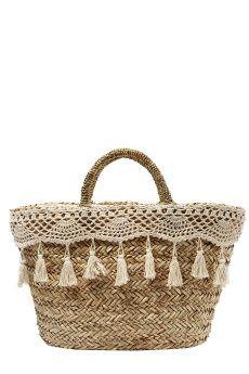 Dress up a plain straw basket. Boho Bags, Craft Bags, Basket Bag, Crochet Purses, Summer Bags, Knitted Bags, Handmade Bags, My Bags, Purses And Handbags