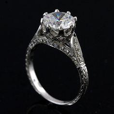 Antique Style Inspired Pave Set Diamond 14k White Gold por OroSpot