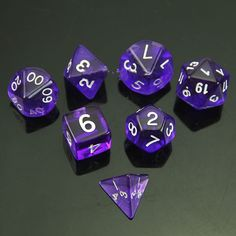 MTG Purple Polyhedral 7 Sided Die D4 D6 D8 D10 D12 D20 &DRAGONS D&D Dice Game #Unbranded