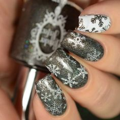 Powder Perfect Christmas 2017 Collection + Stamping Plates Christmas gray snowflakes nail art