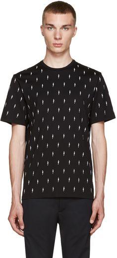 Neil Barrett: Black & White Embroidered Thunderbolt T-Shirt | SSENSE