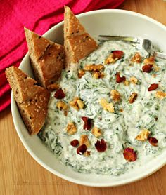 Turmeric & Saffron: Mast Esfenaj - Persian Yogurt and Spinach Dip Middle Eastern Dishes, Middle Eastern Recipes, Iranian Cuisine, Iranian Dishes, Saffron Recipes, Iran Food, Dips, Vegetarian Recipes, Cooking Recipes