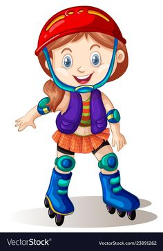 A girl playing roller skate vector image. Cartoon Pics, Cartoon Characters, Dora And Friends, School Murals, Preschool Education, School Decorations, China Painting, Camping With Kids, Skate