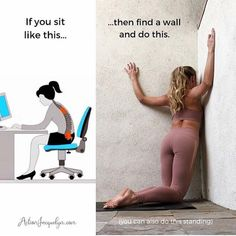 Yoga Poses : Let's getstretchyatwork in our chest, pecs, and fronts of our shoulders, because so many of us are really getting STUCK in bad postures and… Fitness Workouts, Yoga Fitness, Fitness Motivation, At Home Workouts, Fitness Tips, Health Fitness, Arm Workouts, Training Workouts, Work Motivation