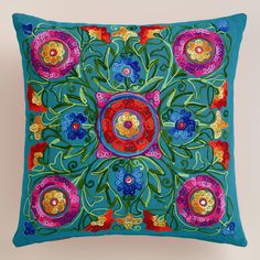 Multicolor and Pink Floral Embroidered Throw Pillow | World MarketI love the colors