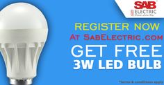 Free LED Bulb on registering at sabelectric.com