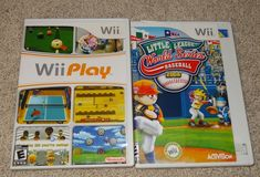 Wii Play & Little League World Series Baseball 2008 W/Cases Nintendo Games 2 KH #Nintendo