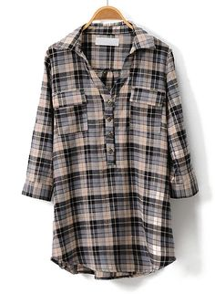 Black and Grey Plaid Print Half Sleeve V-neck Blouse - Sheinside.com