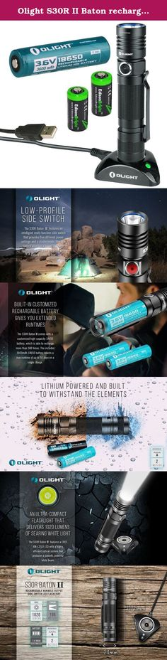 Olight S30R II Baton rechargeable XM-L2 U3 1020 Lumen LED Flashlight with type 18650 3600mAh Li-ion battery, charging base with two EdisonBright CR123A Lithium back-up batteries bundle. The S30RII Baton features the popular design of the S30R with upgraded specifications to increase performance and reliability. The light output of the S30RII ranges from 1 to 1020 lumens. The light continues to feature the magnetic tail cap and removable pocket clip that can be seen on the previous…