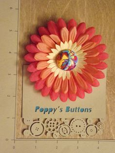 Rainbow Sherbet Button Flower Barrette/Pin by PoppysButtons on Etsy