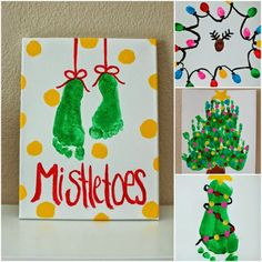 Christmas Crafts for toddlers Pinkie for Pink: Kids Christmas Art Projects Christmas Art For Kids, Christmas Art Projects, Christmas Arts And Crafts, Preschool Christmas, Toddler Christmas, Christmas Cards To Make, Christmas Paintings, Holiday Crafts, Childrens Homemade Christmas Cards