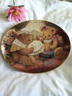 Teddy Bear Plate, Vintage Collector's Bear Plate, Franklin Mint Friends Are Fur-Ever Plate, Bear Decoration, Limited Edition Porcelain Plate