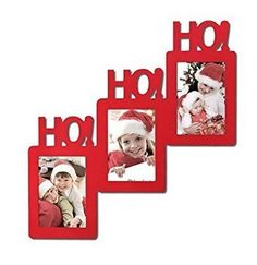 Adeco Decorative Red Wood Ho Ho Ho Christmas Holiday Wall Hanging Picture Photo Frame 3 Openings 4x6 -- This is an Amazon Affiliate link. Learn more by visiting the image link.