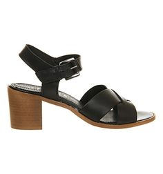Office Double Dutch Sandal Black Leather - Mid Heels
