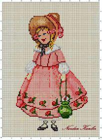 Vintage Girl in Pink lola lopez rojo 123 Stitch, Stitch Doll, Cross Stitching, Cross Stitch Embroidery, Hand Embroidery, Cross Stitch For Kids, Just Cross Stitch, Embroidery Patterns Free, Vintage Embroidery
