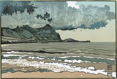 """Aberdesach"", linocut Print Size: A2 (594 x 420mm) by Ian Phillips (Wales UK)"