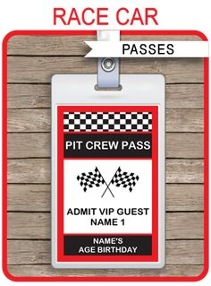 * INSTANT DOWNLOAD * Race Car Party Pit Crew Passes. Personalize the printable template at home & create a Pass for each guest coming to your Party!