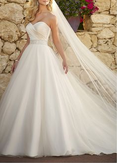 Romantic Satin & Organza & Tulle Ball Gown Strapless Sweetheart Neckline Natural Waist Embroidery 2013 Wedding Dress With Beadings
