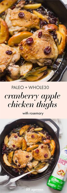 These paleo cranberry apple chicken thighs with rosemary (Whole30 chicken cranberry apple dish!) are such a delicious paleo fall recipe. With organic cranberry juice and dried cranberries, these paleo cranberry apple chicken thighs are an easy and quick paleo dinner that's elegant enough for company. Such a great Whole30 chicken dish.