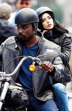 Mike Colter and Krysten Ritter on the set of 'AKA Jessica Jones' in NYC