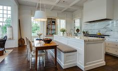There is no question that designing a new kitchen layout for a large kitchen is much easier than for a small kitchen. A large kitchen provides a designer with adequate space to incorporate many convenient kitchen accessories such as wall ovens, raised. Kitchen Island Booth, Kitchen Island Designs With Seating, Kitchen Island And Table Combo, Kitchen Booths, Kitchen Layouts With Island, Kitchen Benches, Kitchen Islands, Kitchen Island With Table Attached, Booth Seating In Kitchen