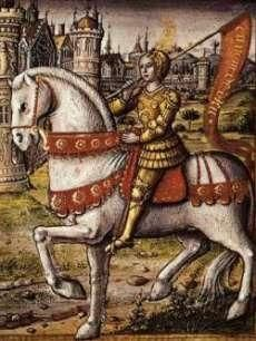 Joan of Arc depicted on horseback in an illustration from a 1505 manuscript. This Day in History: Apr Joan of Arc relieves Orleans Saint Joan Of Arc, St Joan, Jeanne D'arc, Jeanne Alter, Medieval World, Medieval Art, Medieval Times, Medieval Manuscript, Illuminated Manuscript